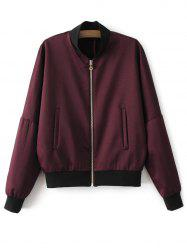 Full Zip Bomber Jacket - WINE RED