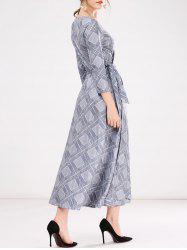 Wrap Checked A-Line Dress -