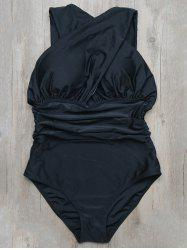V Neck Crossover Ruched One-Piece Swimwear