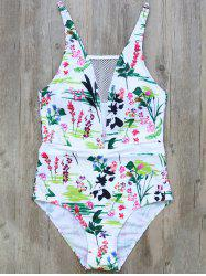 Cami Floral Mesh Panel One-Piece Swimwear