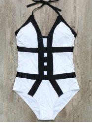 Halter Cut Out Color Block One-Piece Swimwear