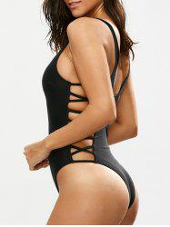 Lacing Up One Piece Swimsuit - BLACK