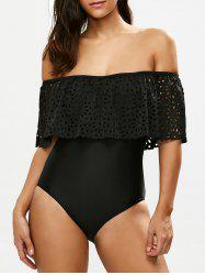 Flounce Off The Shoulder Swimsuit - BLACK