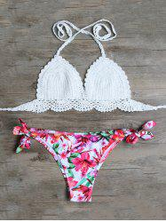 Scalloped Crocheted Floral Bikini Set - WHITE