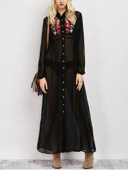 Long Sleeve Floral Button Up Sheer Maxi Shirt Dress - BLACK