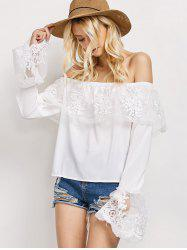 Off The Shoulder Lace Ruffle Top - WHITE L