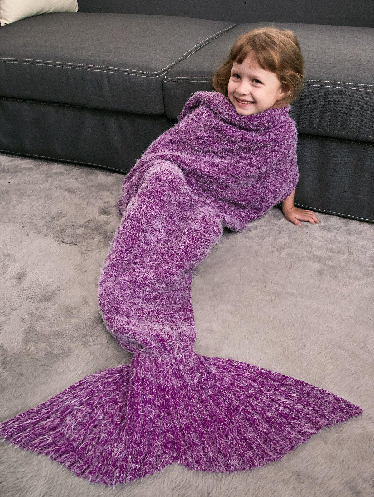 Enfants  'Crochet Tricoté Faux Mohair Mermaid Blanket Throw Violet Rose
