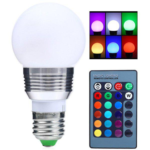 Color Change Lampada Romote Control RGB LED E27 BulbHOME<br><br>Color: SILVER WHITE; Style: Modern/Contemporary; Categories: Light; Material: Aluminium Alloy,Plastic; Voltage(V): 85-265V; Power (W): 5W; Size(CM): 6*11; Weight: 0.110kg; Package Contents: 1 x Night Light 1 x Remote Controller;