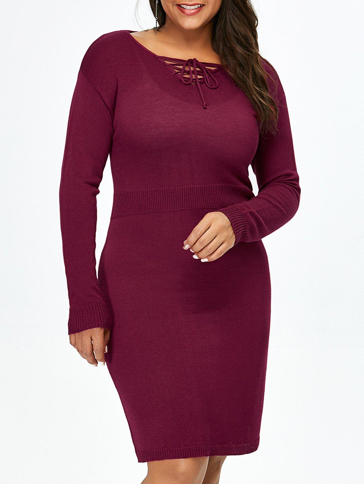 New Plus Size Lace Up Fitted Jumper Dress