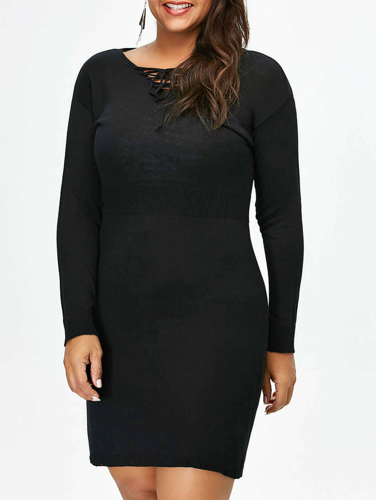 Online Plus Size Lace Up Fitted Jumper Dress