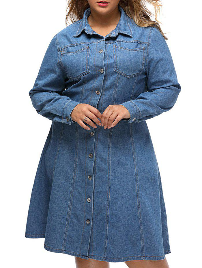 Plus Size Skater Chambray Shirt Dress