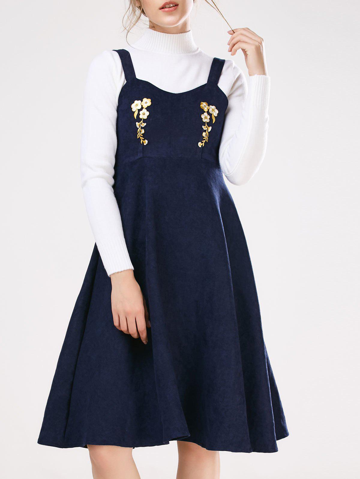 Shop Pinafore Embroidered A-Line Dress With Fitting Knitwear