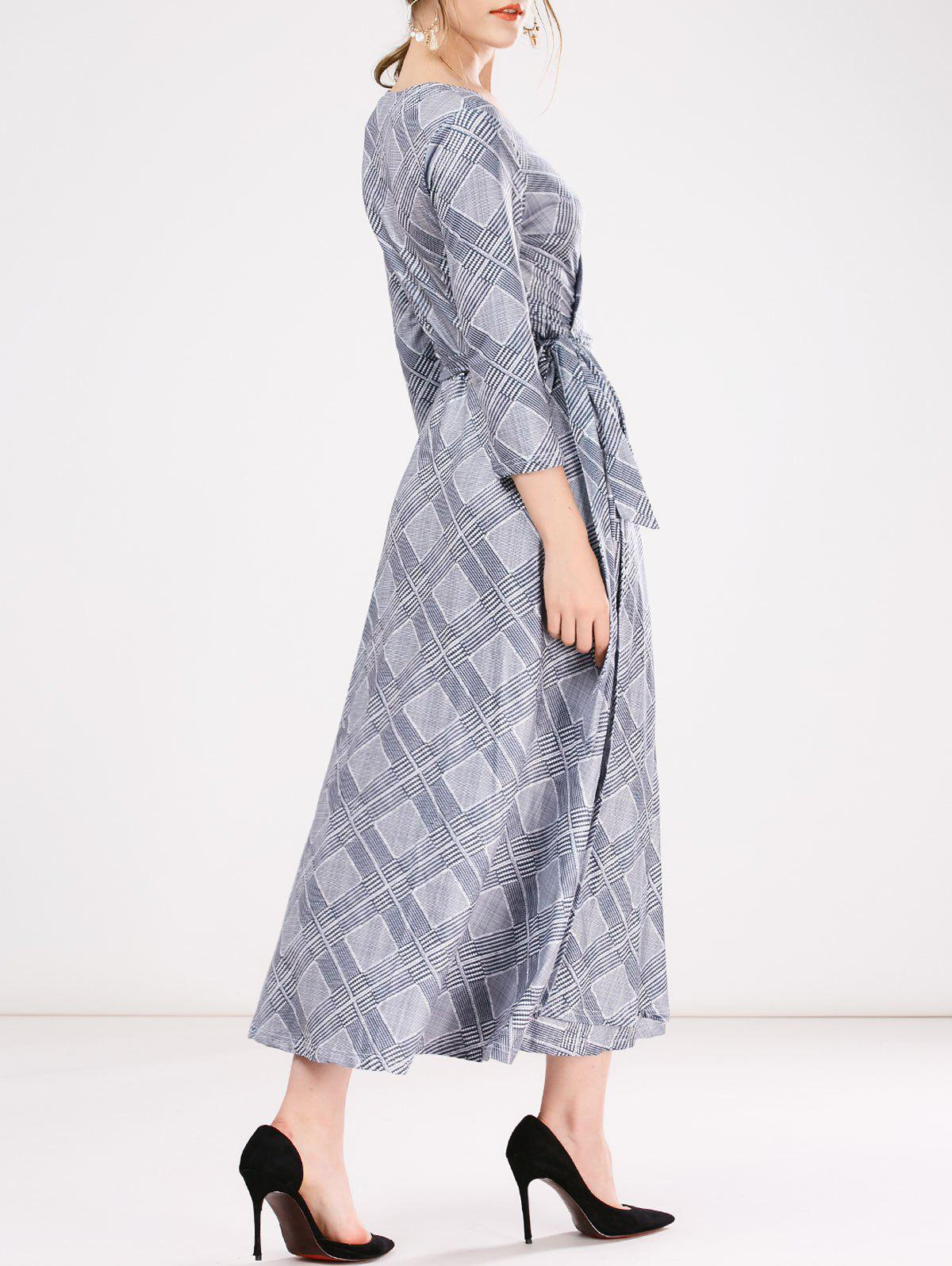 Unique Wrap Checked A-Line Dress