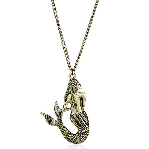 Shops Engraved Mermaid Pendant Sweater Chain
