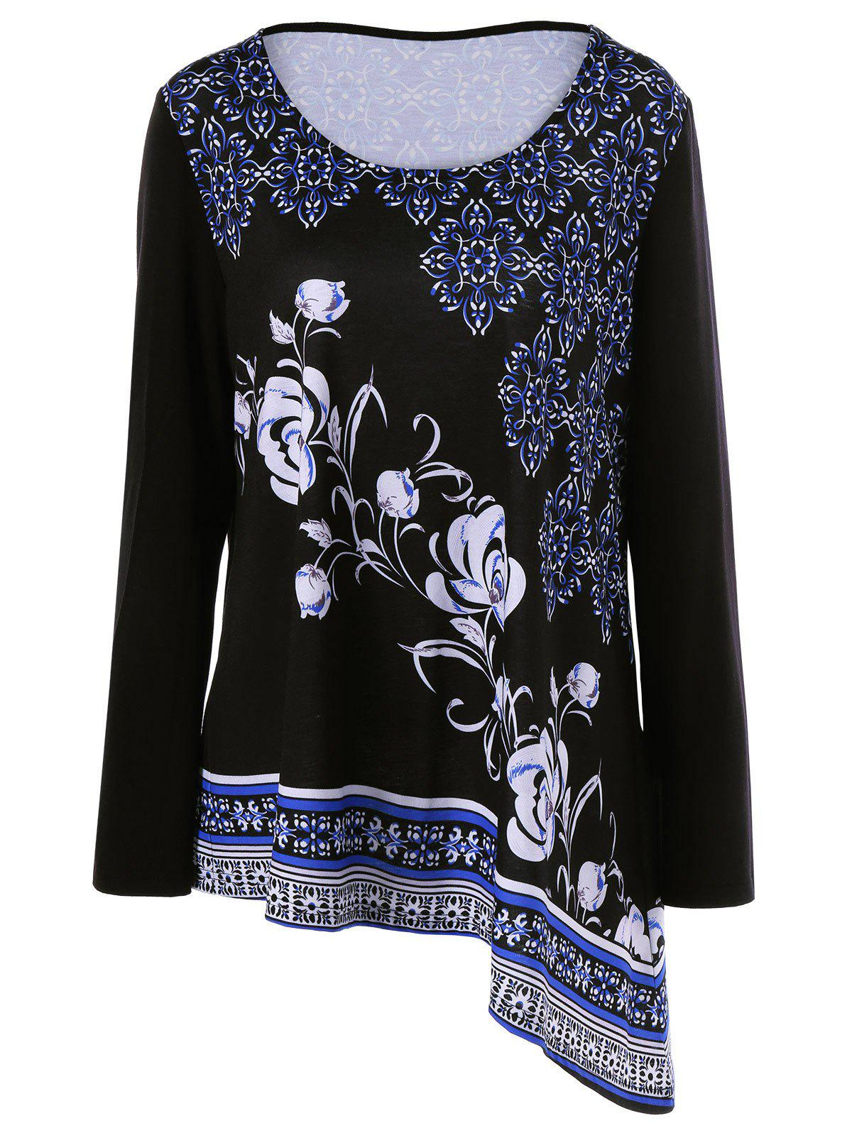 Trendy Plus Size Floral Asymmetrical T-Shirt
