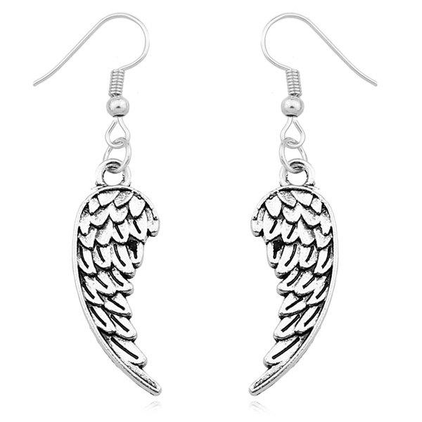 Wings Drop EarringsJEWELRY<br><br>Color: SILVER; Earring Type: Drop Earrings; Gender: For Women; Style: Trendy; Shape/Pattern: Wing; Weight: 0.040kg; Package Contents: 1 x Earrings (Pair);