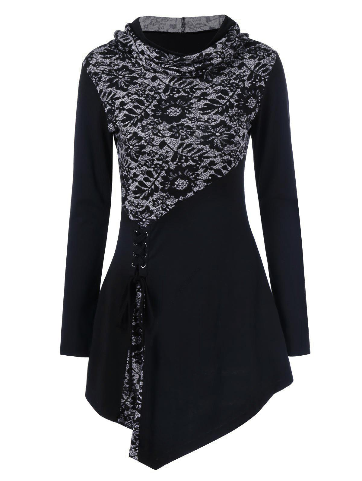 Lace-Up Asymmetrical Long Sleeve Hooded T-ShirtWOMEN<br><br>Size: 4XL; Color: BLACK; Material: Polyester,Spandex; Sleeve Length: Full; Collar: Hooded; Style: Fashion; Embellishment: Lace; Pattern Type: Patchwork; Season: Fall,Spring; Weight: 0.3700kg; Package Contents: 1 x T-Shirt;