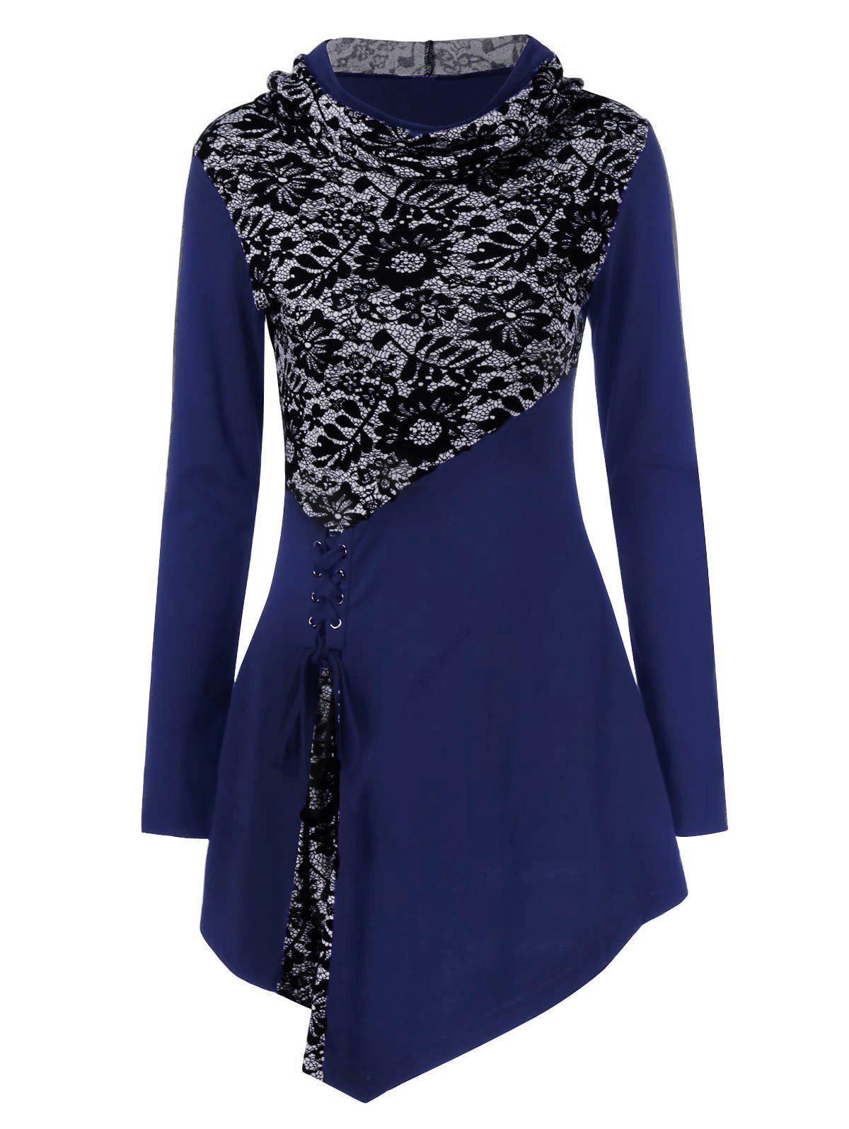 Lace-Up Asymmetrical Long Sleeve Hooded T-ShirtWOMEN<br><br>Size: M; Color: BLUE; Material: Polyester,Spandex; Sleeve Length: Full; Collar: Hooded; Style: Fashion; Embellishment: Lace; Pattern Type: Patchwork; Season: Fall,Spring; Weight: 0.3700kg; Package Contents: 1 x T-Shirt;