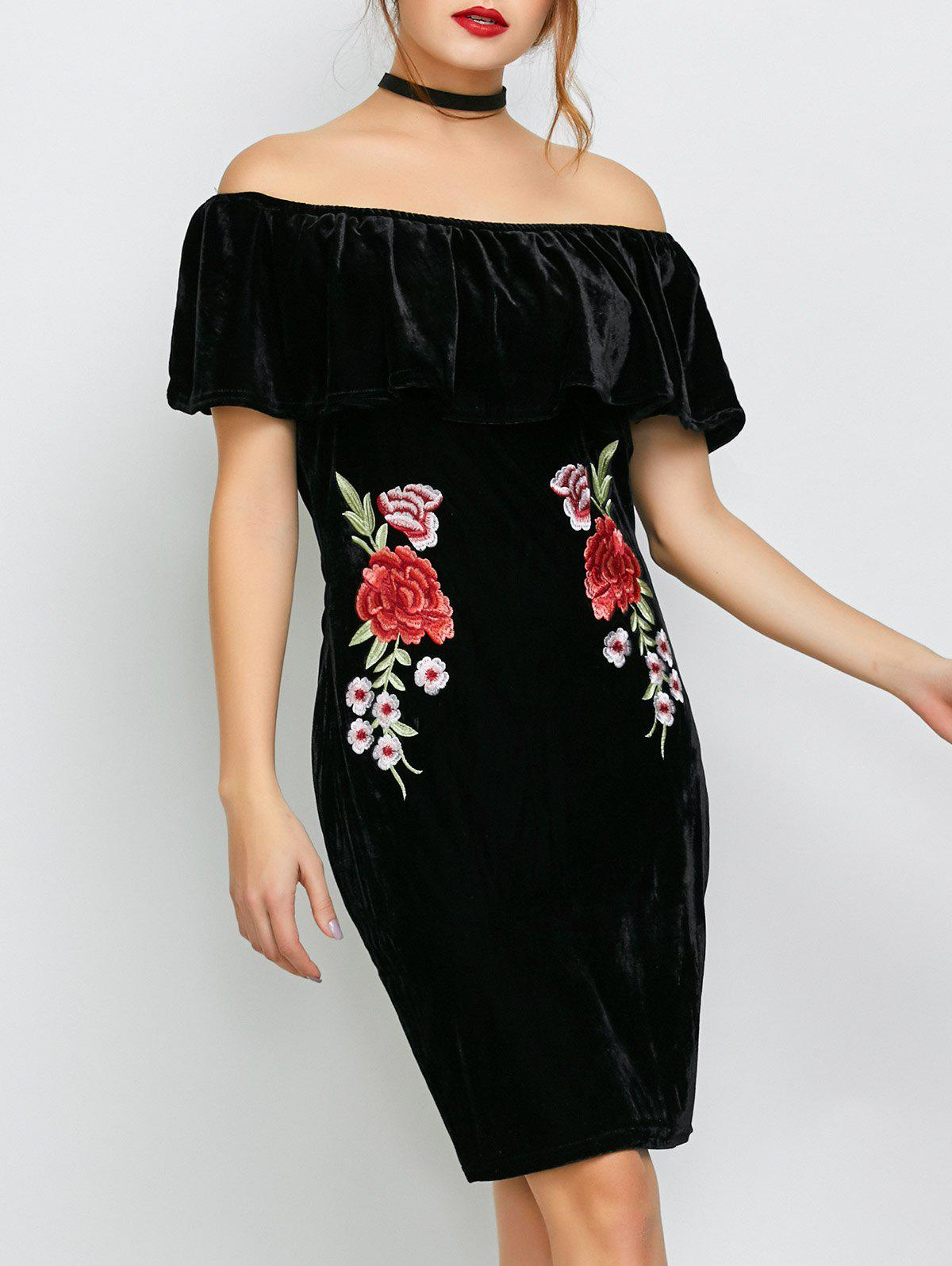 Latest Off The Shoulder Embroidered Velvet Party Dress