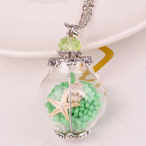 Conch Starfish Glass Ball Pendant NecklaceJEWELRY<br><br>Color: GREEN; Item Type: Pendant Necklace; Gender: For Women; Style: Trendy; Shape/Pattern: Ball; Length: 42CM; Weight: 0.050kg; Package Contents: 1 x Necklace;