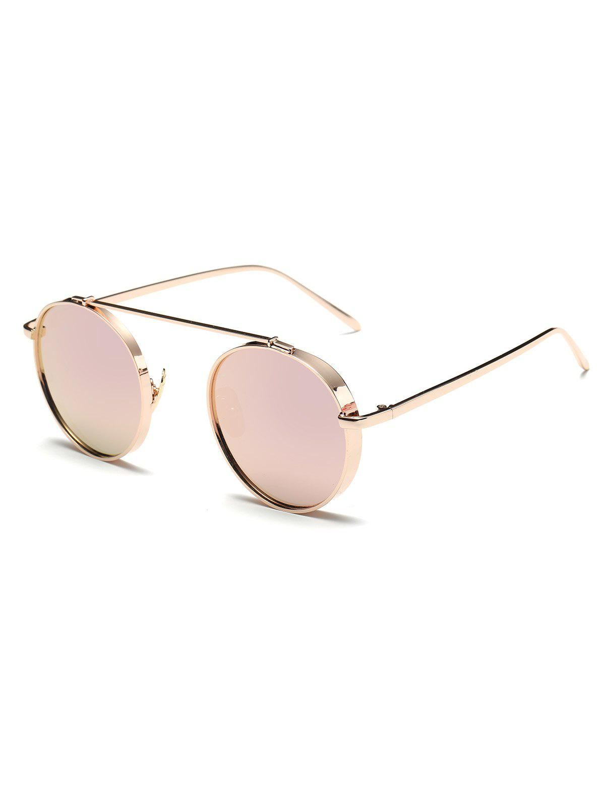 Shops Round Chunky Frame Metal Mirrored Sunglasses