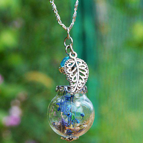 Glass Ball Dry Flower Leaf NecklaceJEWELRY<br><br>Color: SILVER; Item Type: Pendant Necklace; Gender: For Women; Style: Trendy; Shape/Pattern: Ball; Length: 42CM; Weight: 0.060kg; Package Contents: 1 x Necklace;