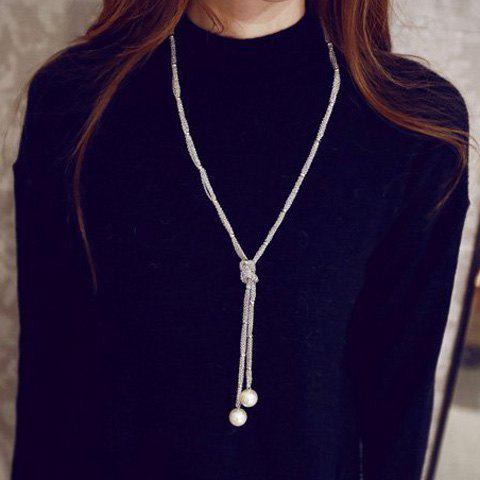 Artificial Pearl Sweater ChainJEWELRY<br><br>Color: SILVER; Gender: For Women; Style: Trendy; Shape/Pattern: Solid; Length: 90CM; Weight: 0.060kg; Package Contents: 1 x Sweater Chain;