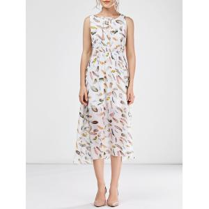 Sleeveless Chiffon Floral Tea Length Beach Dress - White - L