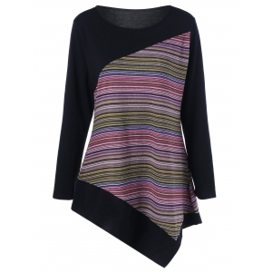 Long Sleeve Colorful Striped Asymmetric Tunic T-Shirt - Pink - M