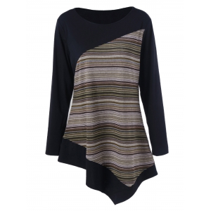 Long Sleeve Colorful Striped Asymmetric Tunic T-Shirt - Ginger - M