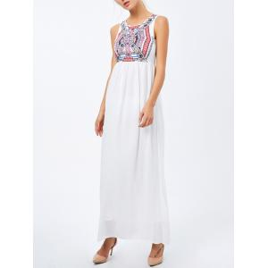 Geometric Print Maxi High Waist Dress - White - S
