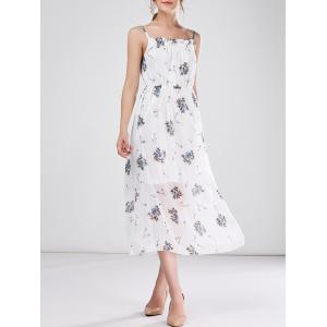 Bohemian Beach Chiffon Cami Floral Print Casual Dress - White - S