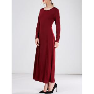 Long A Line Formal Dress with Sleeves - Burgundy - S
