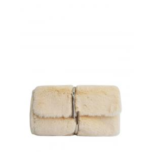 Metal Embellished Faux Fur Clutch Bag