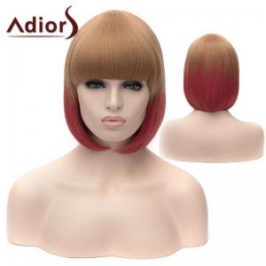 Adiors Short Silky Straight Bob Full Bang Double Color Synthetic Wig