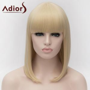 Adiors Medium Silky Straight Bob Full Bang Synthetic Wig - LIGHT GOLD