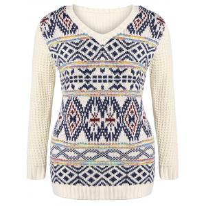 Plus Size V Neck Geometric Pattern Chunky Sweater