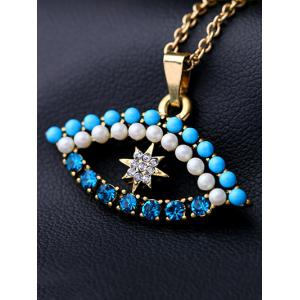 Rhinestone Eye Star Pendant Necklace -