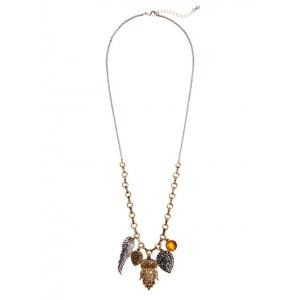 Rhinestone Owl Wing Pendant Necklace