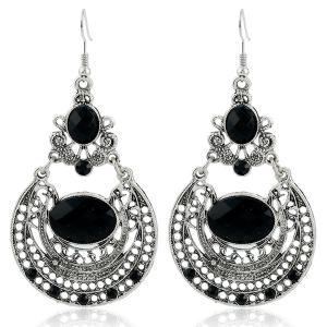 Ethnic Hollow Out Statement Drop Earrings - Black