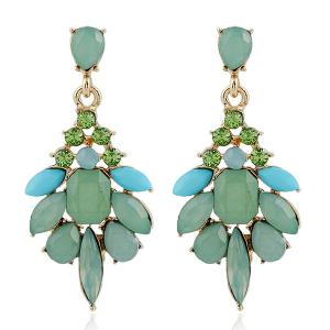 Rhinestone Geometric Drop Earrings - Light Green - W16 Inch * L47 Inch