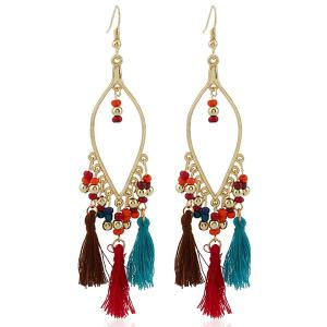Bohemia Beads Tassel Statement Drop Earrings - Colormix