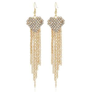 Heart Rhinestoned Chian Tassel Earrings
