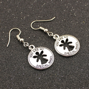 Letter Coin Shape Drop Earrings