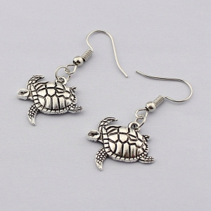 Carved Tortoise Drop Earrings - TB009 SILVER