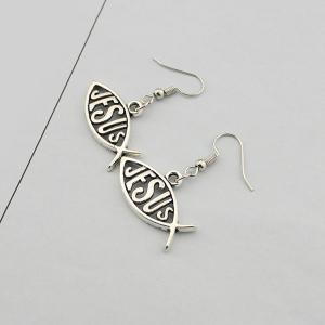 Letter Fish Drop Earrings - TB SILVER