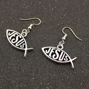 Letter Fish Drop Earrings