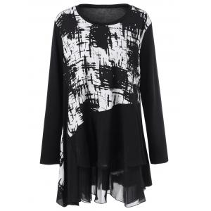Plus Size Ink Painting Panel Tunic T-Shirt