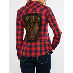 Plaid Graphic Long Sleeve Lace Panel Skull Cutout Shirt - Red - L