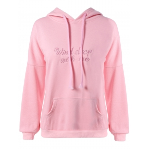 Plus Size Kangaroo Pocket Embroidered Hoodie - Pink - 4xl